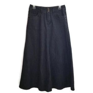 Cato Black Denim A-Line Flare Maxi Skirt 4